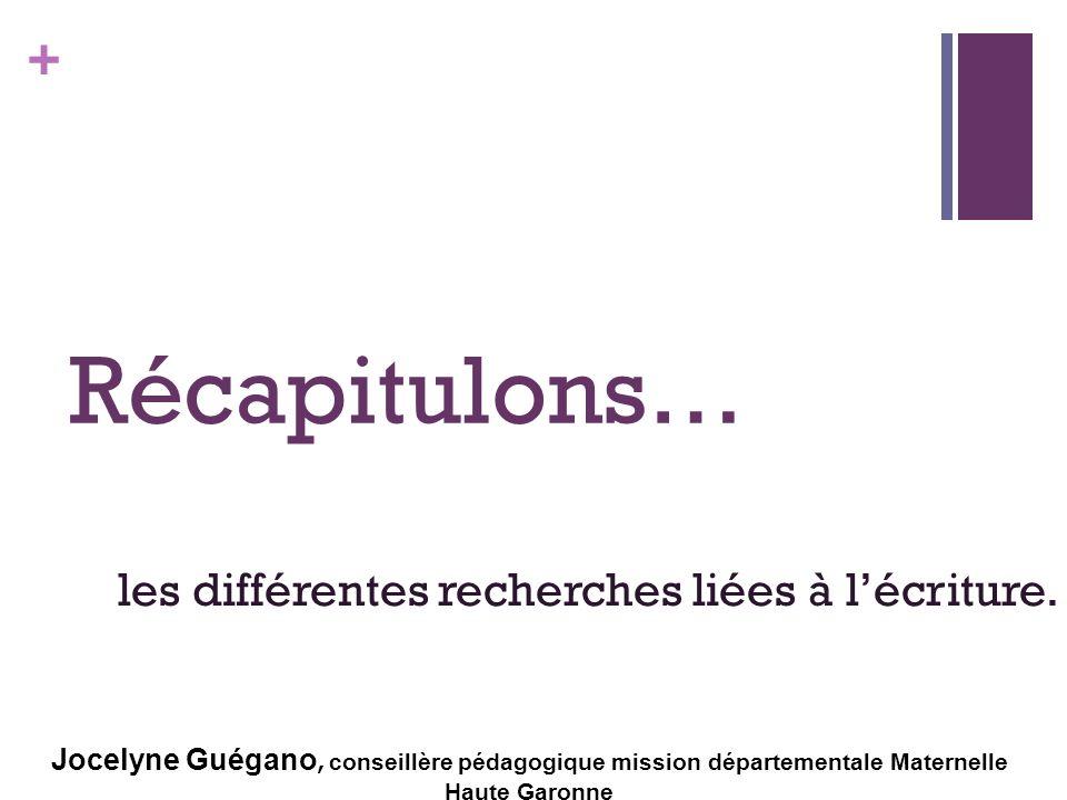 + Récapitulons… les différentes recherches liées à lécriture. Jocelyne Guégano, conseillère pédagogique mission départementale Maternelle Haute Garonn