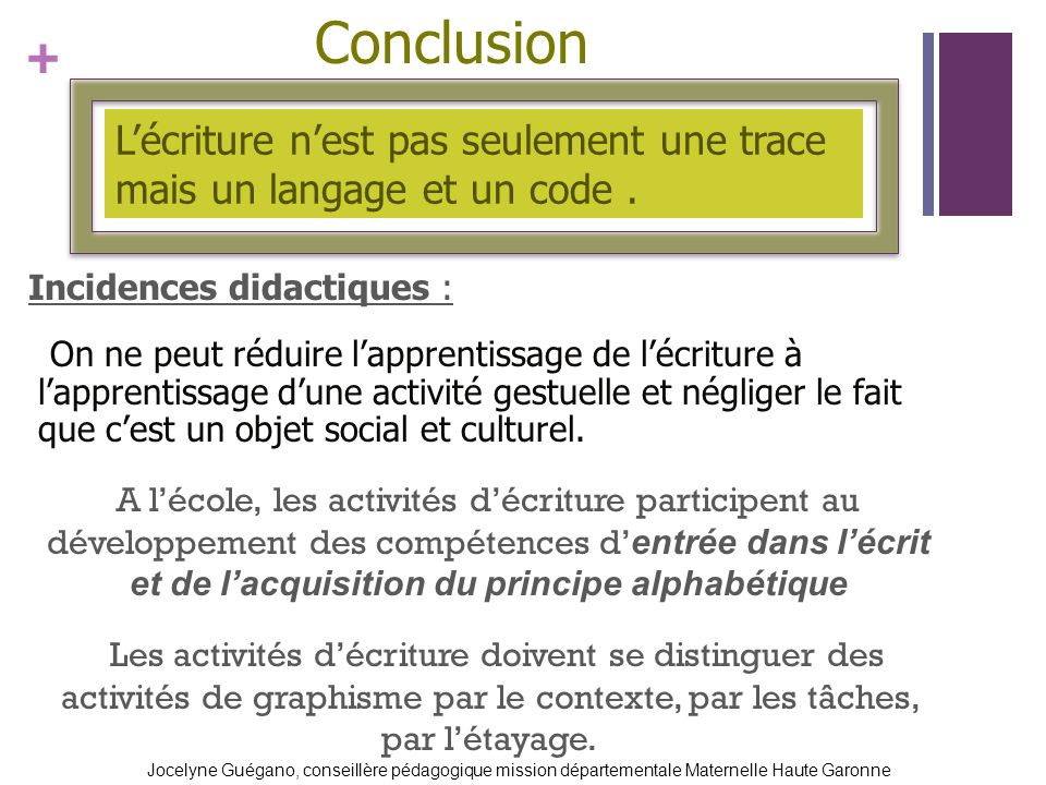 + Conclusion Incidences didactiques : On ne peut réduire lapprentissage de lécriture à lapprentissage dune activité gestuelle et négliger le fait que cest un objet social et culturel.
