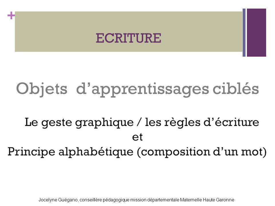 + ECRITURE Jocelyne Guégano, conseillère pédagogique mission départementale Maternelle Haute Garonne