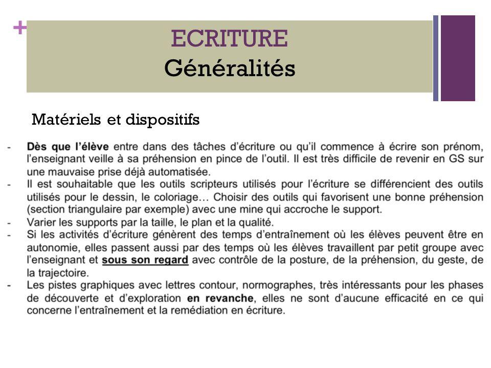 + ECRITURE Généralités Matériels et dispositifs