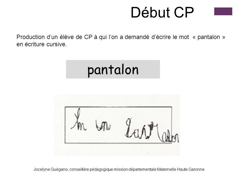 GROUPI IA 31 Début CP Production dun élève de CP à qui lon a demandé décrire le mot « pantalon » en écriture cursive. pantalon Jocelyne Guégano, conse