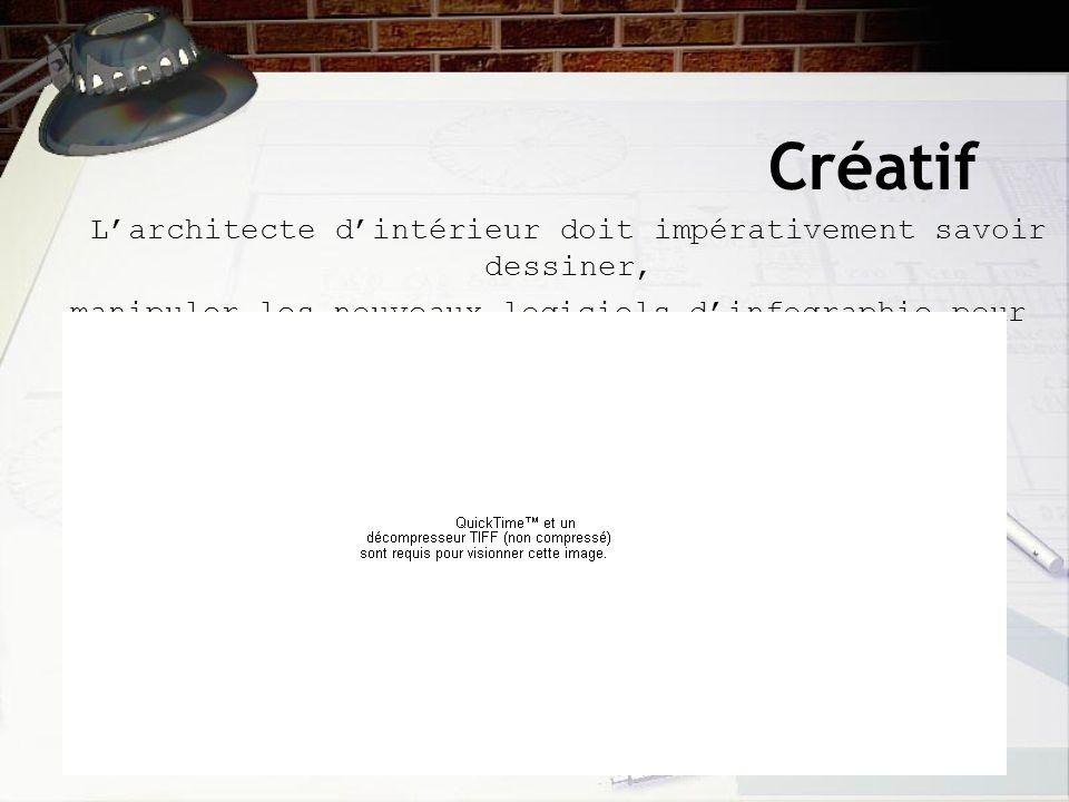 Créatif Larchitecte dintérieur doit impérativement savoir dessiner, manipuler les nouveaux logiciels dinfographie pour concevoir ses plans