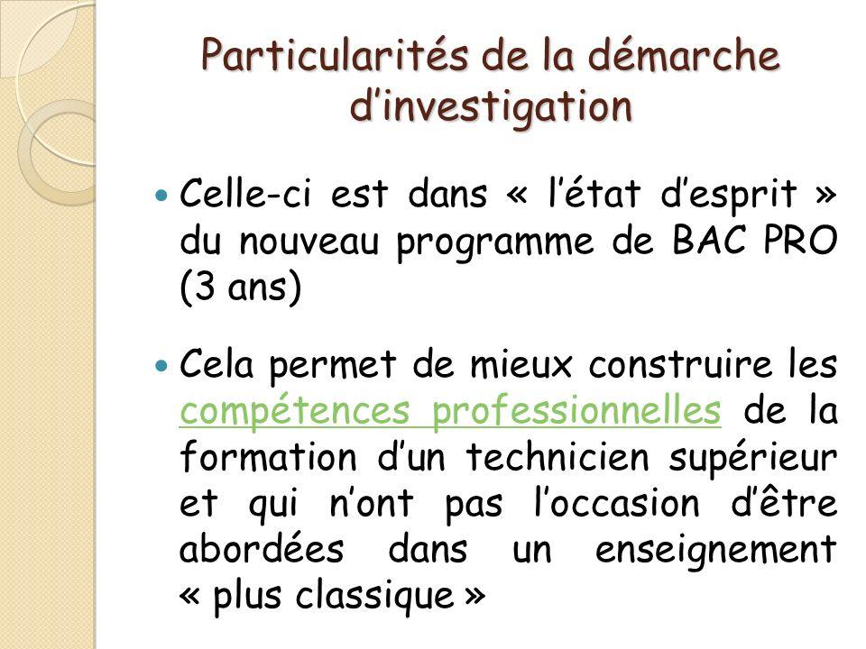 Particularités de la démarche dinvestigation Celle-ci est dans « létat desprit » du nouveau programme de BAC PRO (3 ans) Cela permet de mieux construi