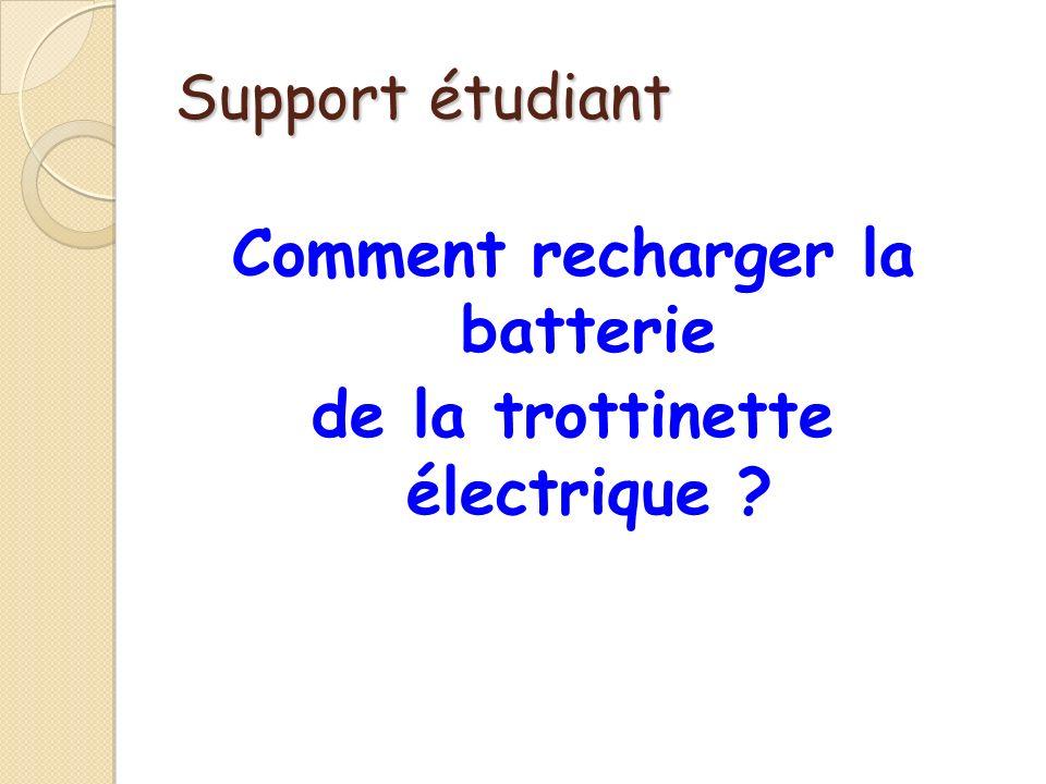 Support étudiant Comment recharger la batterie de la trottinette électrique ?
