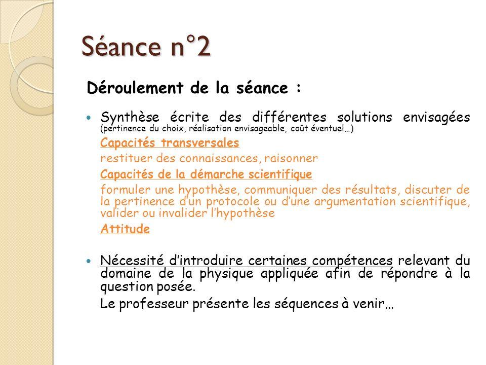 Séance n°2 Synthèse écrite des différentes solutions envisagées (pertinence du choix, réalisation envisageable, coût éventuel…) Capacités transversale
