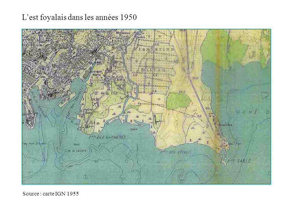 Lest foyalais dans les années 1950 La mangrove occupe une place importante Source : carte IGN 1955