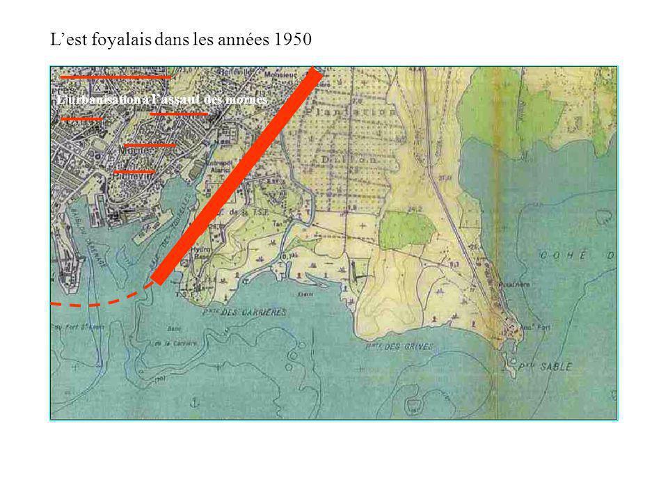 Lurbanisation à lassaut des mornes Lest foyalais dans les années 1950 La mangrove occupe une place importante