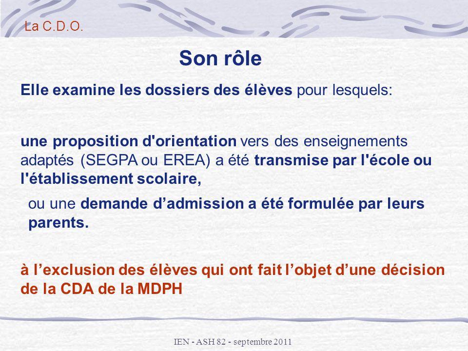 IEN - ASH 82 - septembre 2011 Elle examine les dossiers des élèves pour lesquels: une proposition d'orientation vers des enseignements adaptés (SEGPA