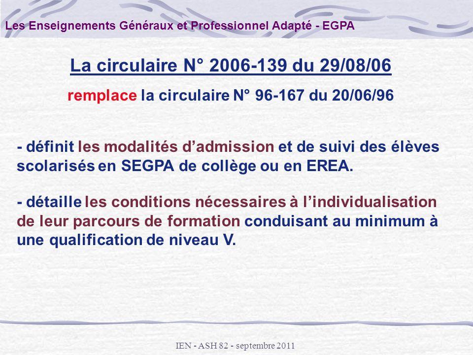 IEN - ASH 82 - septembre 2011 - définit les modalités dadmission et de suivi des élèves scolarisés en SEGPA de collège ou en EREA. La circulaire N° 20