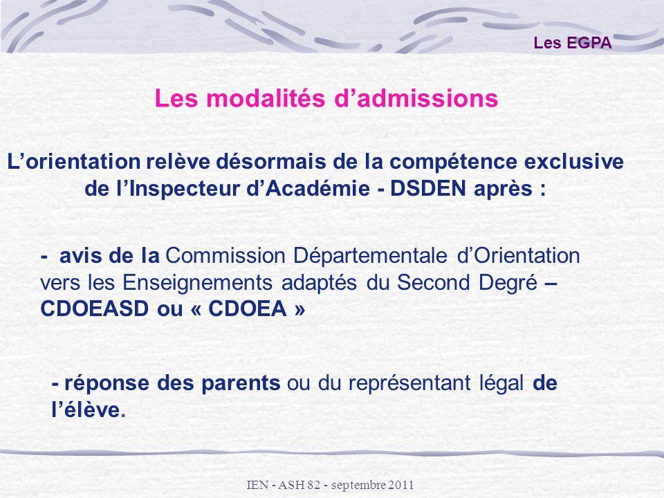 IEN - ASH 82 - septembre 2011 Les EGPA Lorientation relève désormais de la compétence exclusive de lInspecteur dAcadémie - DSDEN après : - avis de la