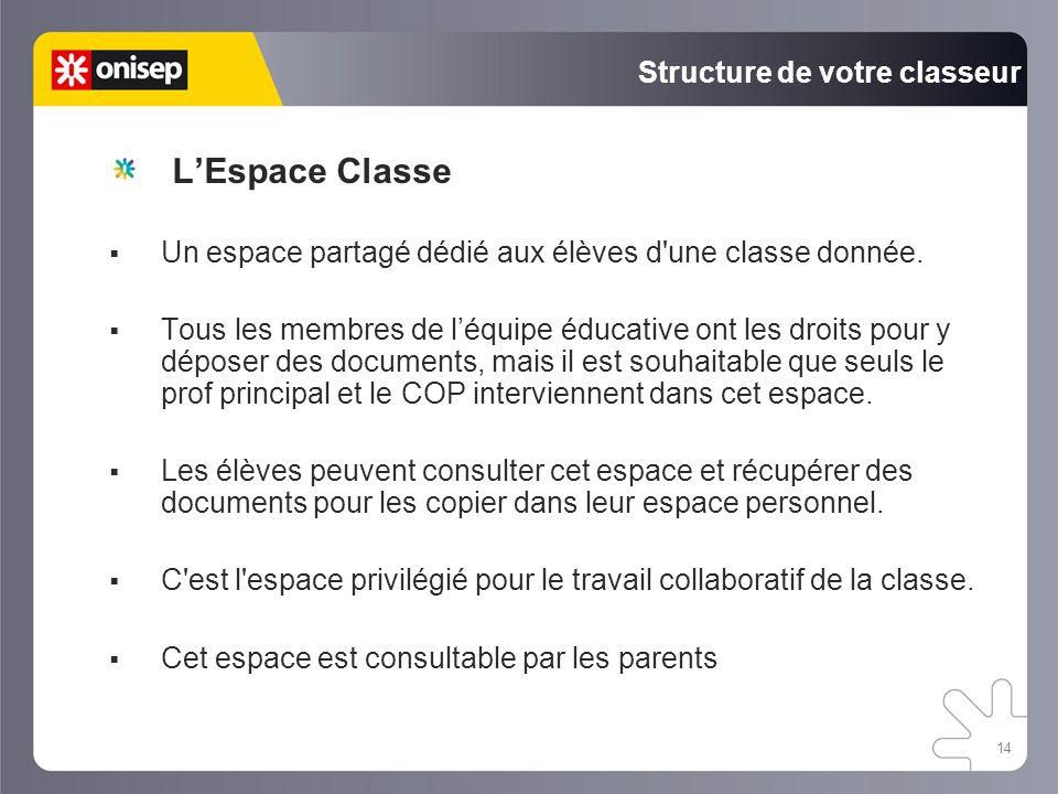 14 Structure de votre classeur Un espace partagé dédié aux élèves d une classe donnée.