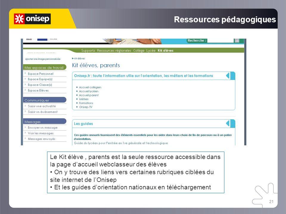 21 Ressources pédagogiques Le Kit élève, parents est la seule ressource accessible dans la page daccueil webclasseur des élèves On y trouve des liens vers certaines rubriques ciblées du site internet de lOnisep Et les guides dorientation nationaux en téléchargement