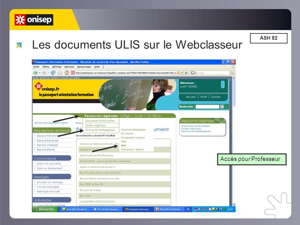 Les documents ULIS sur le Webclasseur ASH 82 Accès pour Professeur