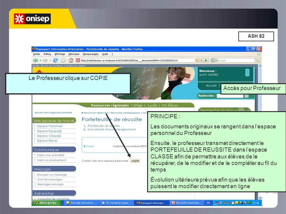 ASH 82 PRINCIPE : Les documents originaux se rangent dans lespace personnel du Professeur Ensuite, le professeur transmet directement le PORTEFEUILLE DE REUSSITE dans lespace CLASSE afin de permettre aux élèves de le récupérer, de le modifier et de le compléter au fil du temps Évolution ultérieure prévue afin que les élèves puissent le modifier directement en ligne Le Professeur clique sur COPIE Accès pour Professeur