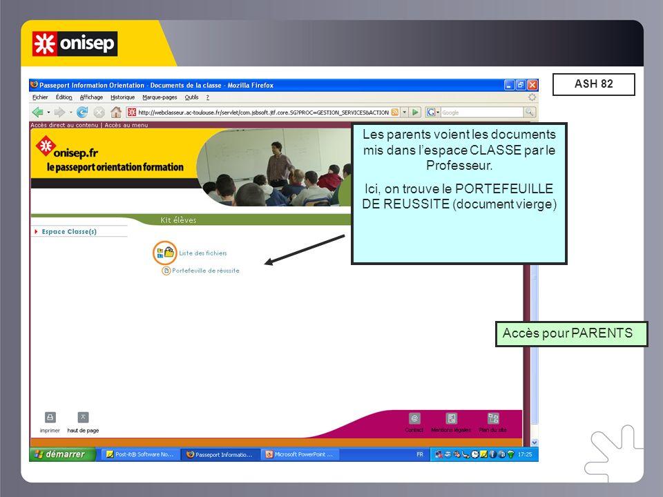 ASH 82 Accès pour PARENTS Les parents voient les documents mis dans lespace CLASSE par le Professeur.