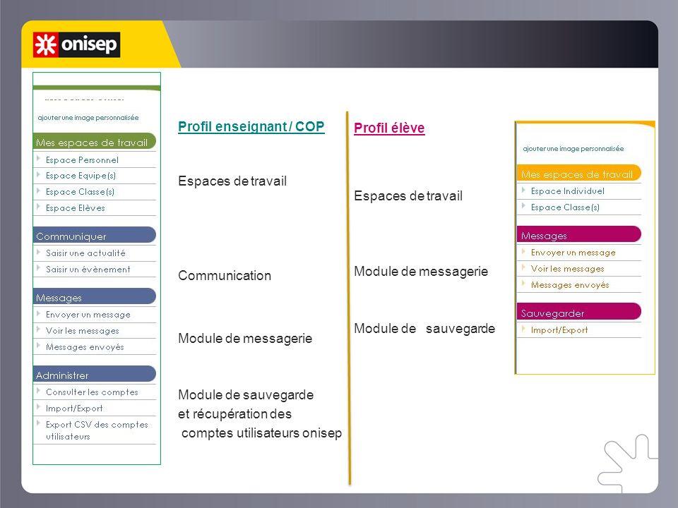 Le web classeur Profil enseignant / COP Espaces de travail Communication Module de messagerie Module de sauvegarde et récupération des comptes utilisateurs onisep Profil élève Espaces de travail Module de messagerie Module de sauvegarde