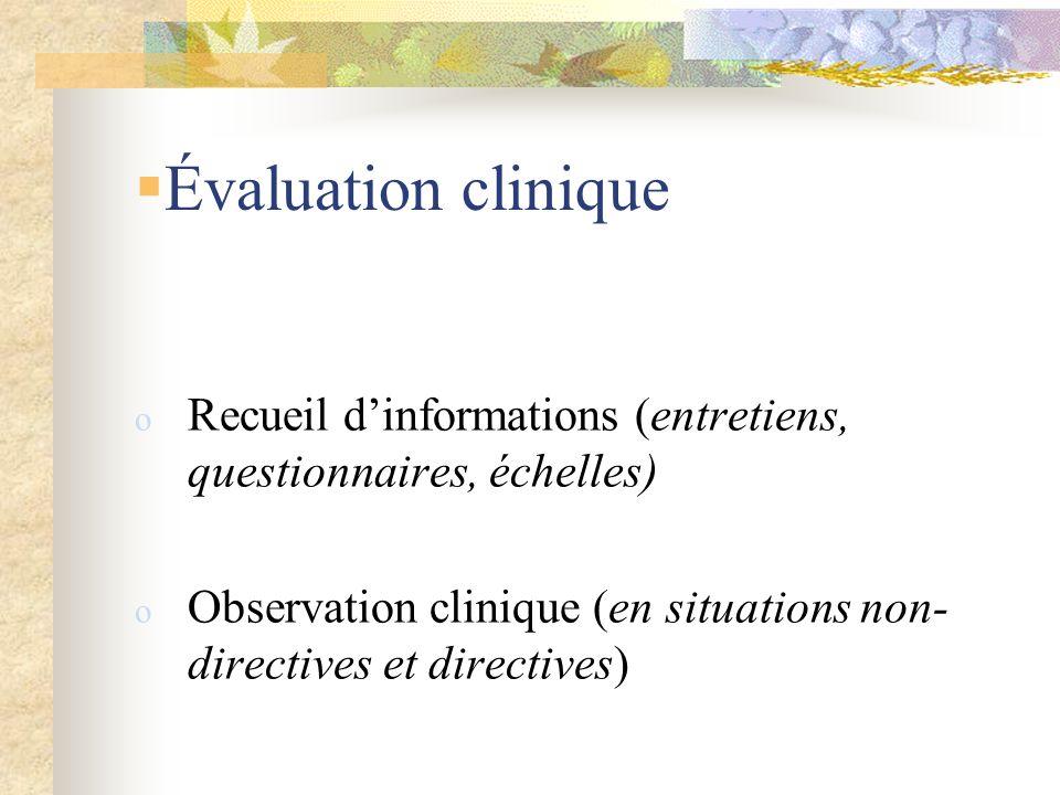 Évaluation clinique o Recueil dinformations (entretiens, questionnaires, échelles) o Observation clinique (en situations non- directives et directives