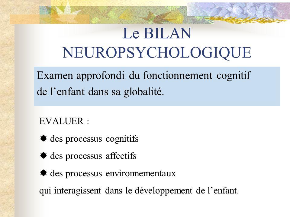 Le BILAN NEUROPSYCHOLOGIQUE Examen approfondi du fonctionnement cognitif de lenfant dans sa globalité. EVALUER : des processus cognitifs des processus
