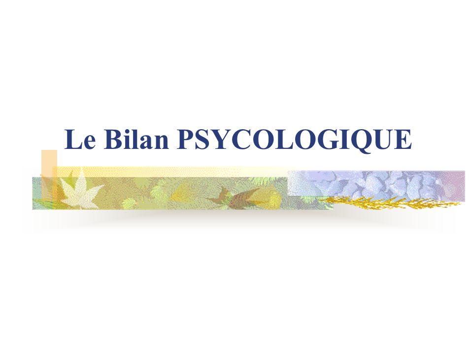Le Bilan PSYCOLOGIQUE EXPLORE La dimension cognitive intellectuelle La dimension psycho-affective Difficulté dans les apprentissages Souffrance de lenfant (repérée,comprise et traitée) Trouble psychologique Apprentissages et linvestissement scolaire