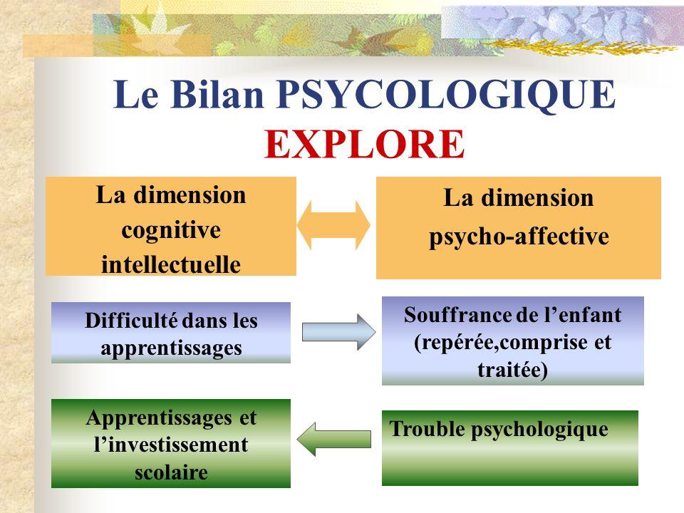 Le Bilan PSYCOLOGIQUE EXPLORE La dimension cognitive intellectuelle La dimension psycho-affective Difficulté dans les apprentissages Souffrance de len