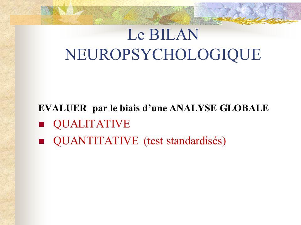 Le BILAN NEUROPSYCHOLOGIQUE EVALUER par le biais dune ANALYSE GLOBALE QUALITATIVE QUANTITATIVE (test standardisés)