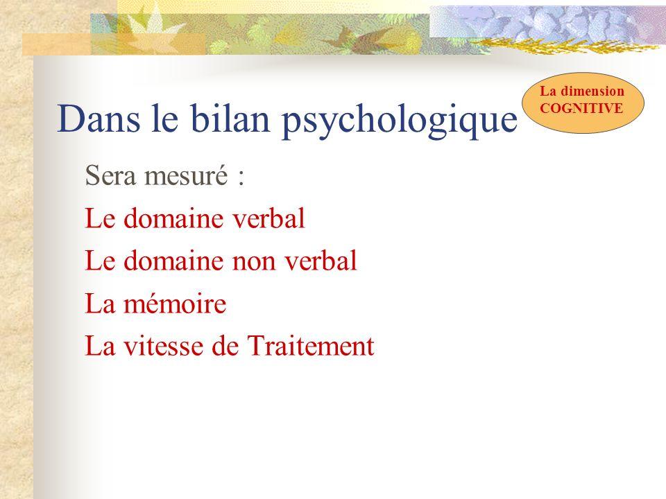 Dans le bilan psychologique Sera mesuré : Le domaine verbal Le domaine non verbal La mémoire La vitesse de Traitement La dimension COGNITIVE