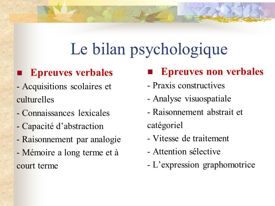 Le bilan psychologique Epreuves verbales - Acquisitions scolaires et culturelles - Connaissances lexicales - Capacité dabstraction - Raisonnement par