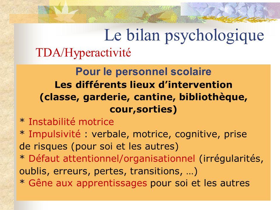 Le bilan psychologique TDA/Hyperactivité Pour le personnel scolaire Les différents lieux dintervention (classe, garderie, cantine, bibliothèque, cour,