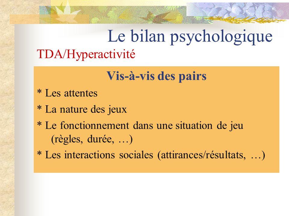 Le bilan psychologique TDA/Hyperactivité Vis-à-vis des pairs * Les attentes * La nature des jeux * Le fonctionnement dans une situation de jeu (règles