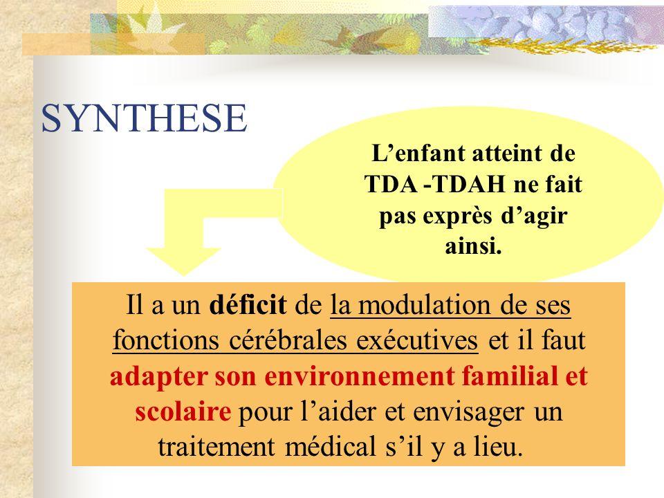 SYNTHESE Il a un déficit de la modulation de ses fonctions cérébrales exécutives et il faut adapter son environnement familial et scolaire pour laider