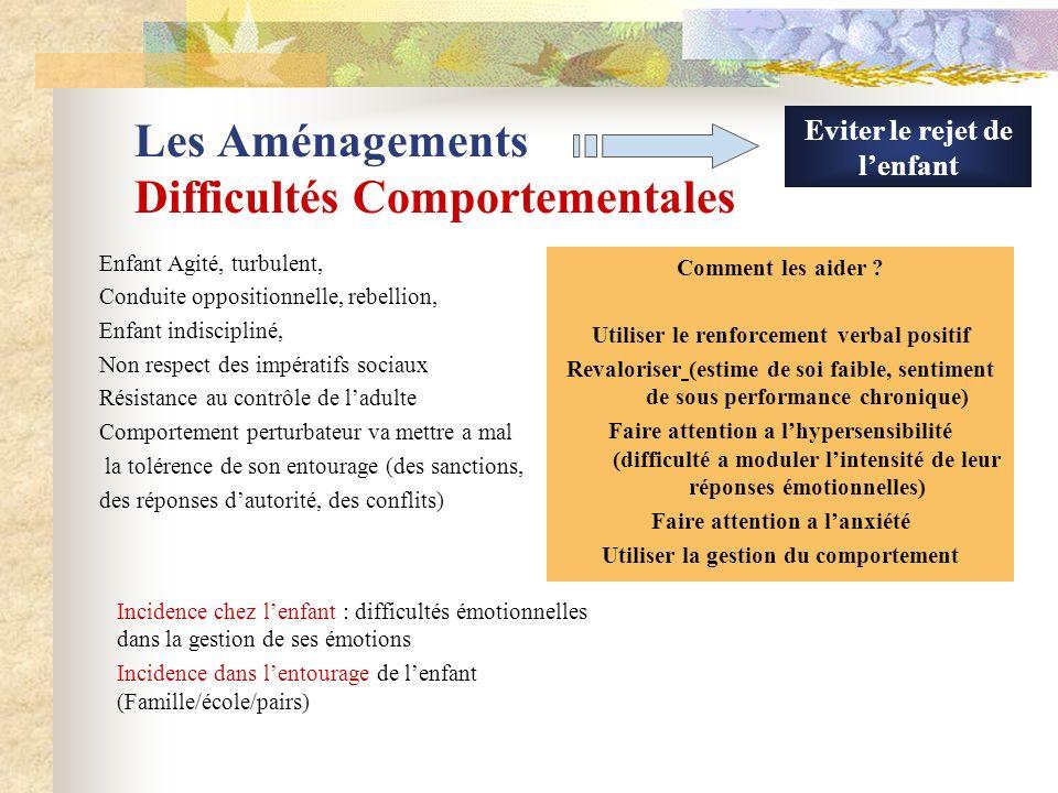 Les Aménagements Difficultés Relationnelles Répéter et simplifier les consignes Fournir des consignes écrites Préciser les buts et les renforcer avec des encouragements Permettre a lenfant de prendre du recul dans la gestion de ses émotions