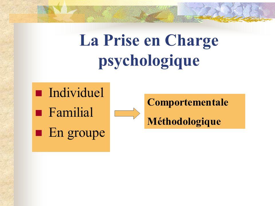 La Prise en Charge psychologique Individuel Familial En groupe Comportementale Méthodologique