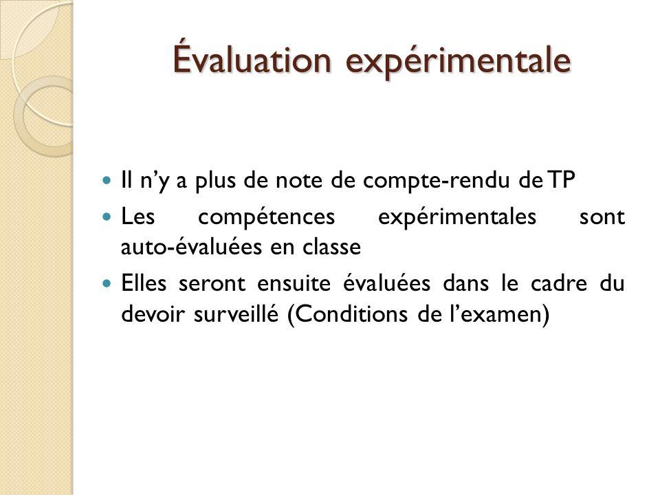 Évaluation expérimentale Il ny a plus de note de compte-rendu de TP Les compétences expérimentales sont auto-évaluées en classe Elles seront ensuite é