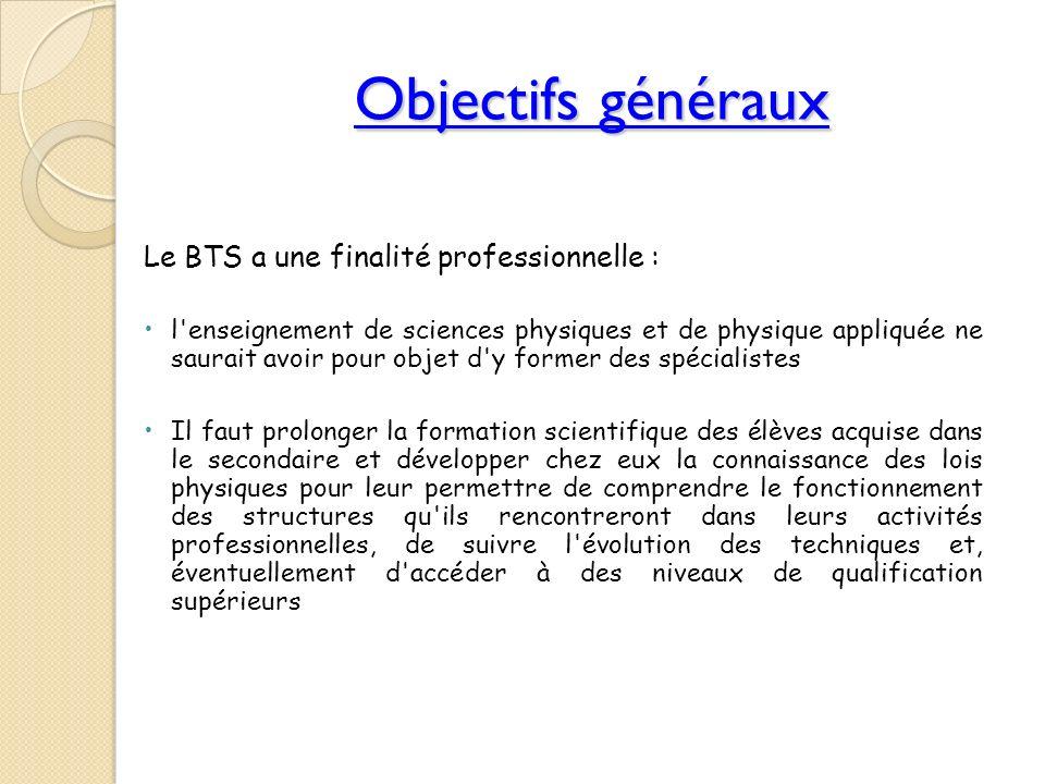 Objectifs généraux Le BTS a une finalité professionnelle : l'enseignement de sciences physiques et de physique appliquée ne saurait avoir pour objet d
