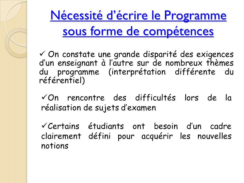 Nécessité décrire le Programme sous forme de compétences On constate une grande disparité des exigences dun enseignant à lautre sur de nombreux thèmes