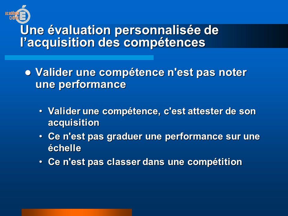 Une évaluation personnalisée de lacquisition des compétences Valider une compétence n est pas noter une performance Valider une compétence n est pas noter une performance Valider une compétence, c est attester de son acquisitionValider une compétence, c est attester de son acquisition Ce n est pas graduer une performance sur une échelleCe n est pas graduer une performance sur une échelle Ce n est pas classer dans une compétitionCe n est pas classer dans une compétition