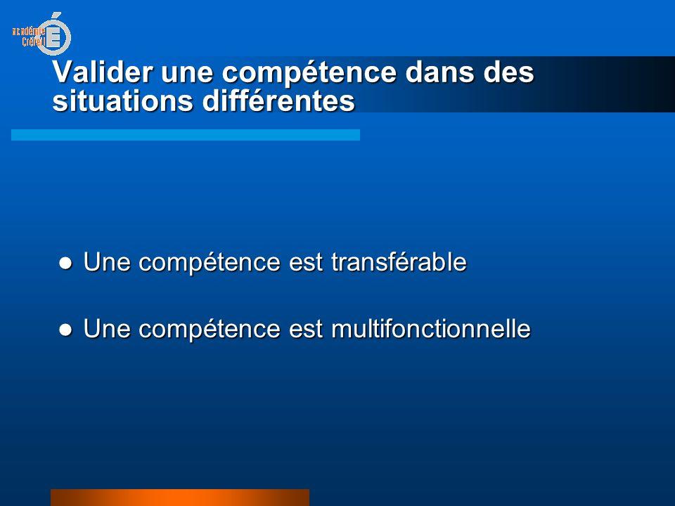 Valider une compétence dans des situations différentes Une compétence est transférable Une compétence est transférable Une compétence est multifonctionnelle Une compétence est multifonctionnelle