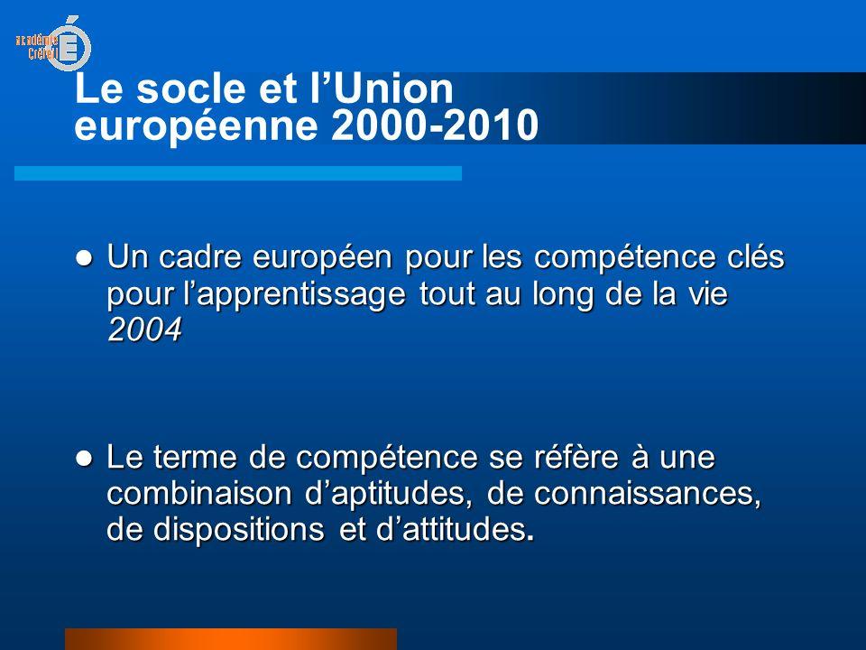 Le socle et lUnion européenne 2000-2010 Un cadre européen pour les compétence clés pour lapprentissage tout au long de la vie 2004 Un cadre européen pour les compétence clés pour lapprentissage tout au long de la vie 2004 Le terme de compétence se réfère à une combinaison daptitudes, de connaissances, de dispositions et dattitudes.