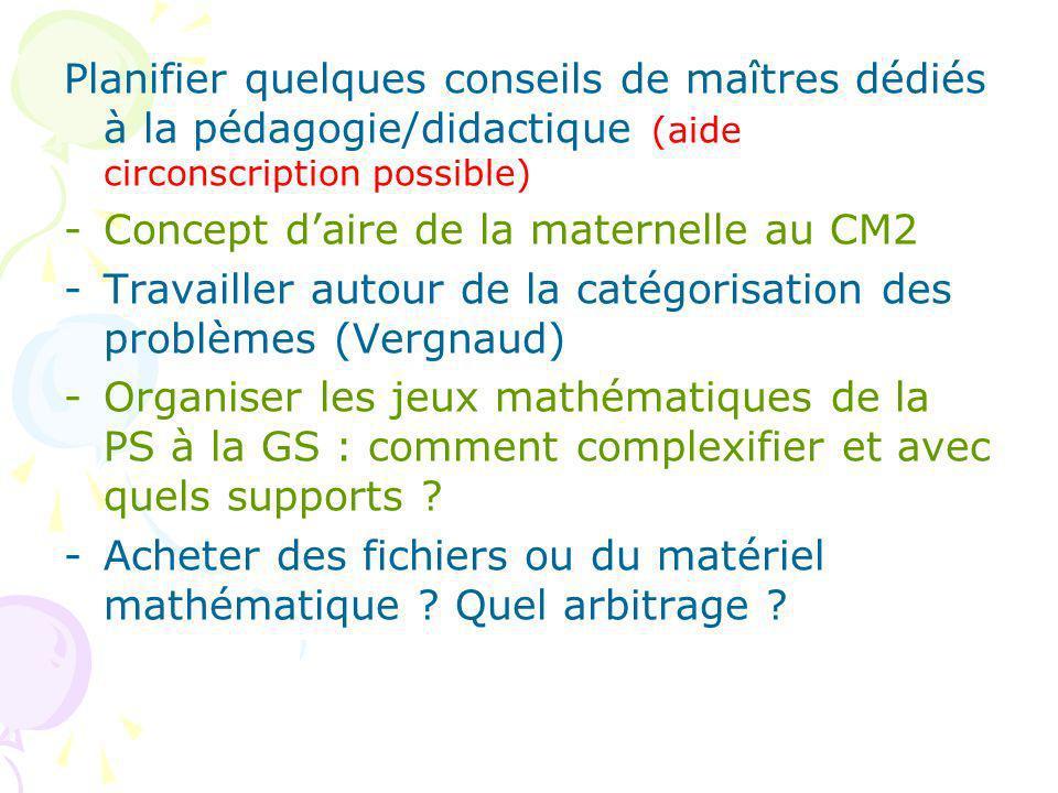 Planifier quelques conseils de maîtres dédiés à la pédagogie/didactique (aide circonscription possible) -Concept daire de la maternelle au CM2 -Travailler autour de la catégorisation des problèmes (Vergnaud) -Organiser les jeux mathématiques de la PS à la GS : comment complexifier et avec quels supports .