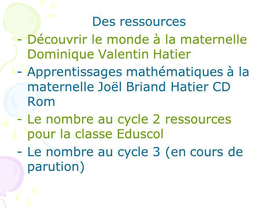 Des ressources -Découvrir le monde à la maternelle Dominique Valentin Hatier -Apprentissages mathématiques à la maternelle Joël Briand Hatier CD Rom -Le nombre au cycle 2 ressources pour la classe Eduscol -Le nombre au cycle 3 (en cours de parution)
