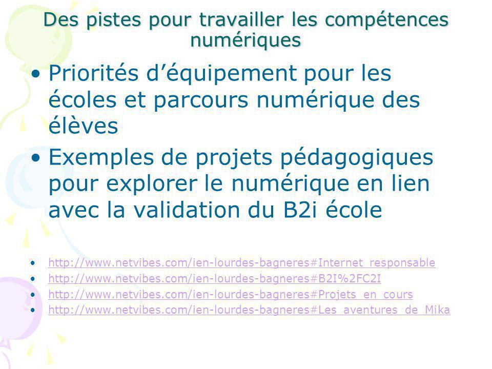 Priorités déquipement pour les écoles et parcours numérique des élèves Exemples de projets pédagogiques pour explorer le numérique en lien avec la validation du B2i école http://www.netvibes.com/ien-lourdes-bagneres#Internet_responsable http://www.netvibes.com/ien-lourdes-bagneres#B2I%2FC2I http://www.netvibes.com/ien-lourdes-bagneres#Projets_en_cours http://www.netvibes.com/ien-lourdes-bagneres#Les_aventures_de_Mika Des pistes pour travailler les compétences numériques