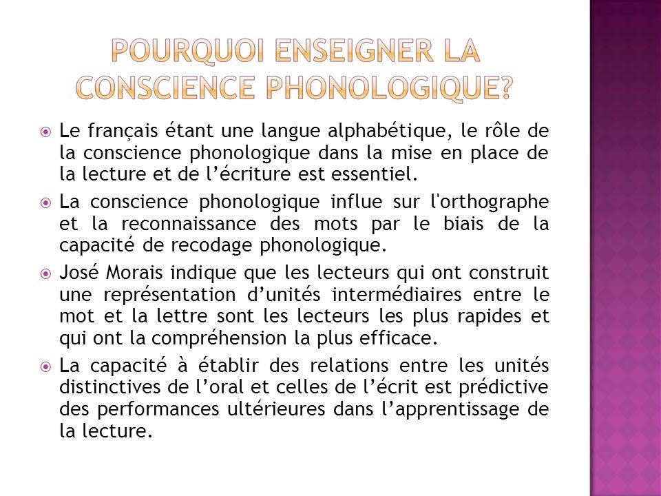 Le français étant une langue alphabétique, le rôle de la conscience phonologique dans la mise en place de la lecture et de lécriture est essentiel. La