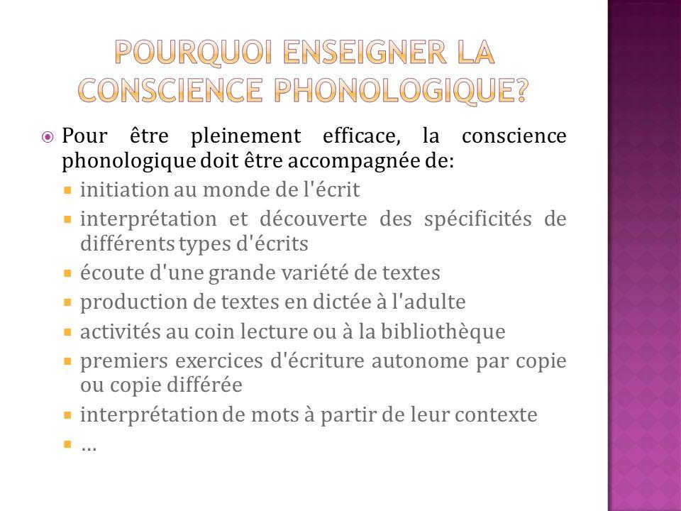 Pour être pleinement efficace, la conscience phonologique doit être accompagnée de: initiation au monde de l'écrit interprétation et découverte des sp