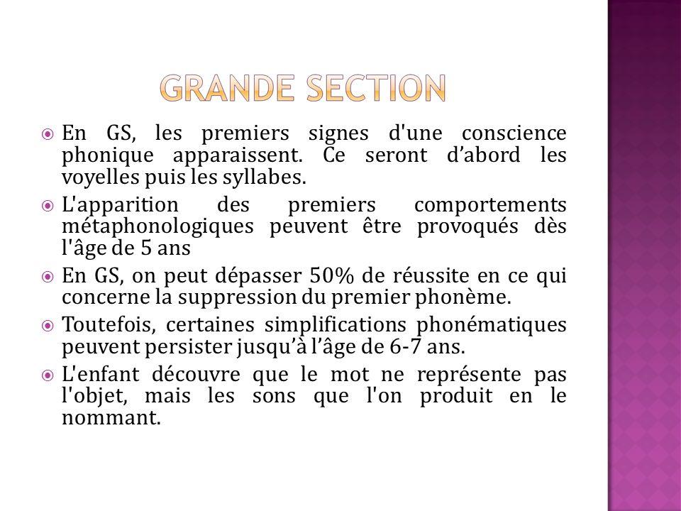 En GS, les premiers signes d'une conscience phonique apparaissent. Ce seront dabord les voyelles puis les syllabes. L'apparition des premiers comporte
