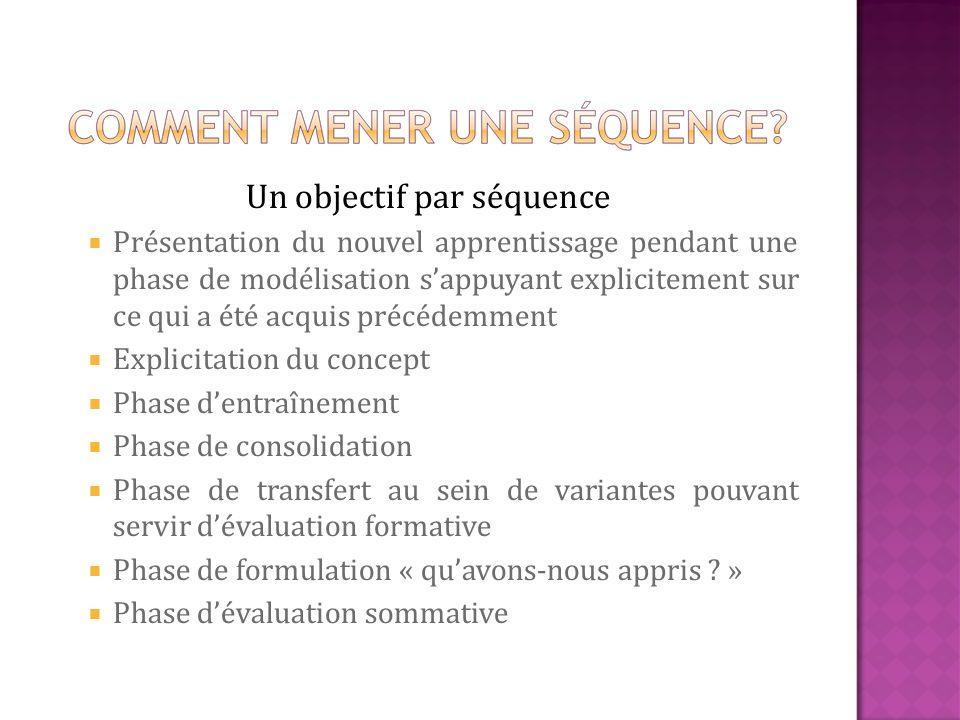 Un objectif par séquence Présentation du nouvel apprentissage pendant une phase de modélisation sappuyant explicitement sur ce qui a été acquis précéd