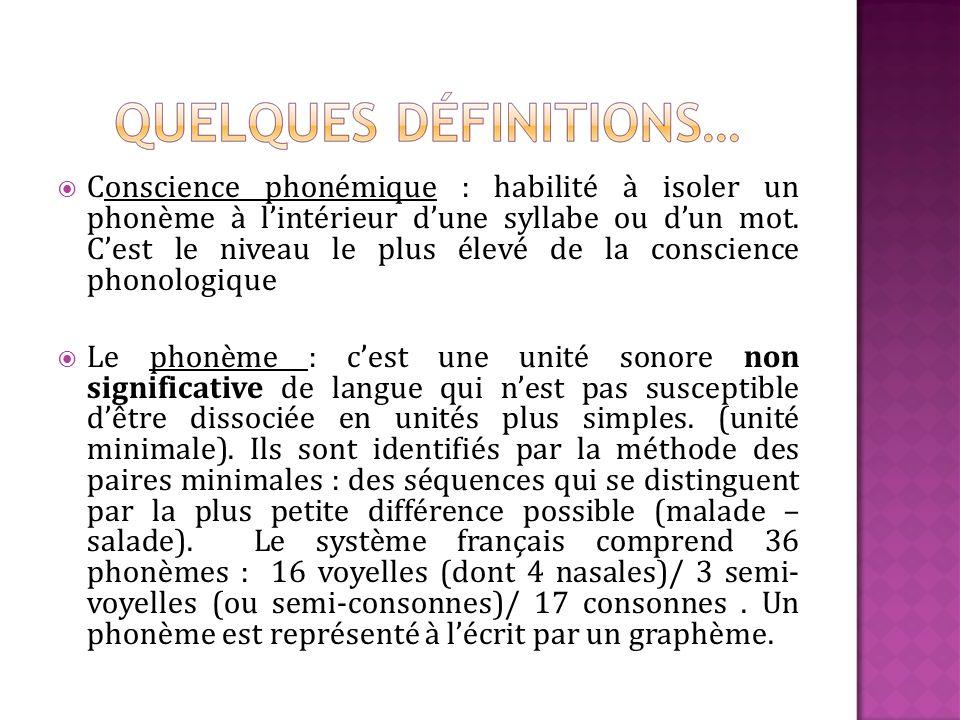 Conscience phonémique : habilité à isoler un phonème à lintérieur dune syllabe ou dun mot. Cest le niveau le plus élevé de la conscience phonologique