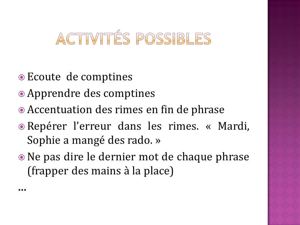 Ecoute de comptines Apprendre des comptines Accentuation des rimes en fin de phrase Repérer lerreur dans les rimes.