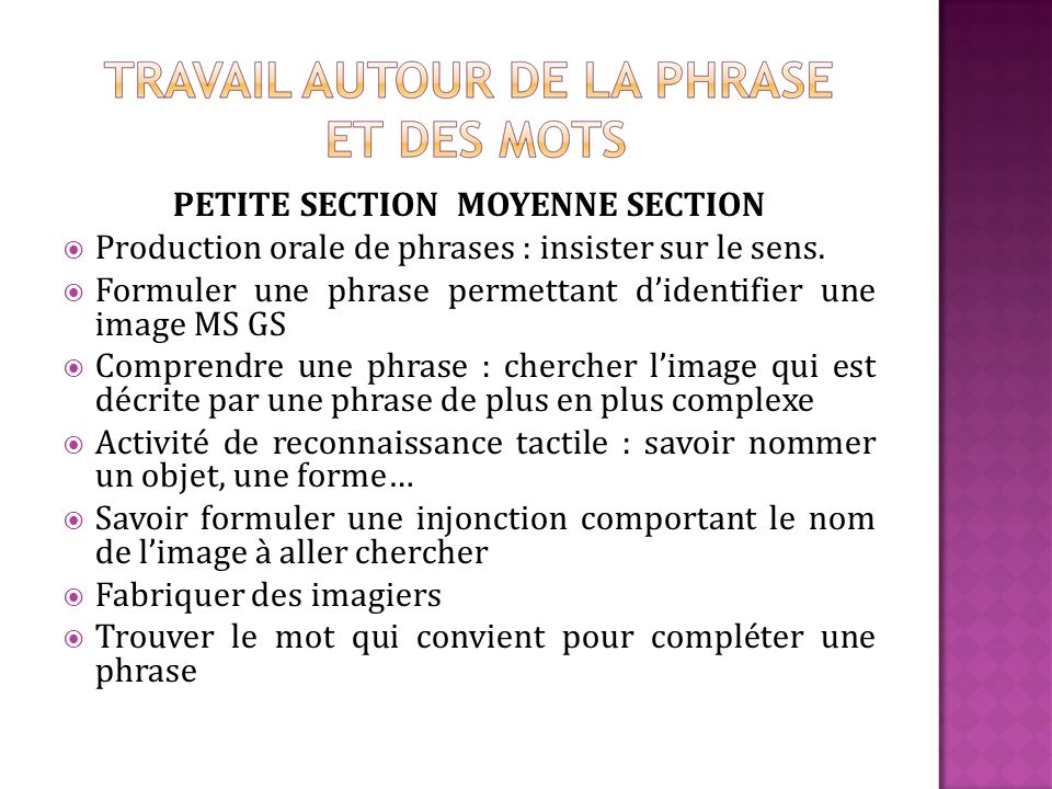 PETITE SECTION MOYENNE SECTION Production orale de phrases : insister sur le sens.