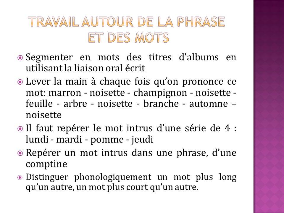 Segmenter en mots des titres dalbums en utilisant la liaison oral écrit Lever la main à chaque fois quon prononce ce mot: marron - noisette - champign