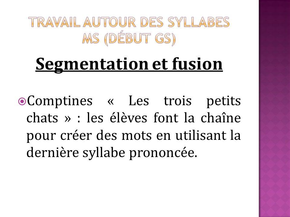 Segmentation et fusion Comptines « Les trois petits chats » : les élèves font la chaîne pour créer des mots en utilisant la dernière syllabe prononcée.